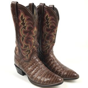 Justin Alligator Brown Cowboy Boots Men's 9.5